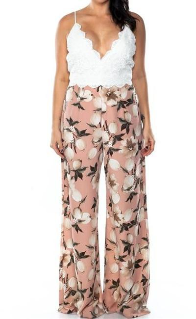 Carmen Lace Floral Jumpsuit (Plus)