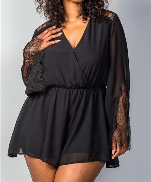 Lacey Bell Sleeve Romper In Black (Plus)