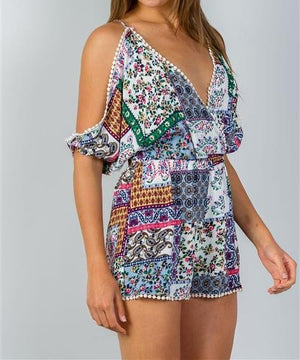 Mixed Print Pom Pom Romper (White)
