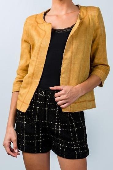 Gold & Black Plaid Front Pleated Woolen Shorts