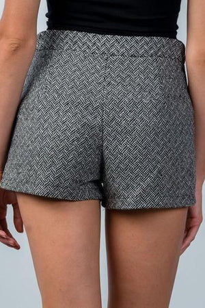 High Waist Woolen Winter Shorts (Black)