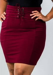 LACE-UP BODYCON PENCIL MAROON SKIRT (PLUS)