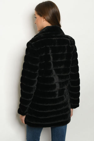 Deluxe Faux Fur Coat (Black)