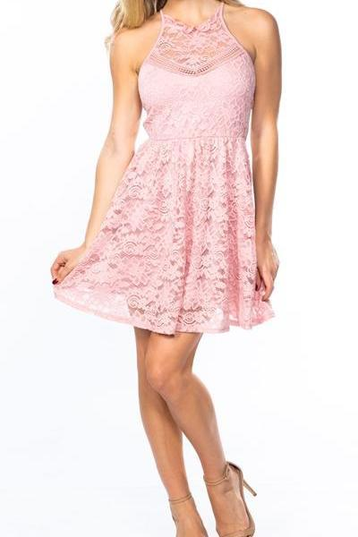 LACE BLUSH PINK STRAPPY SKATER DRESS
