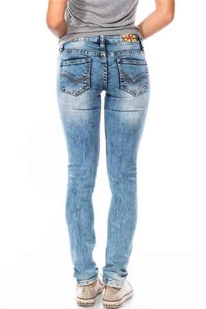 LIGHT BLUE STONE WASHED DISTRESSED SKINNY