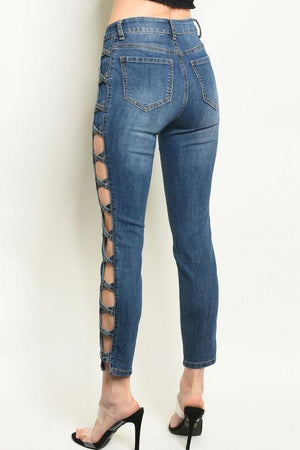 LATTICE SIDE ANKLE SKINNY JEANS