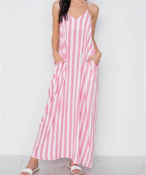 Antonia Pocketed Striped Maxi Dress