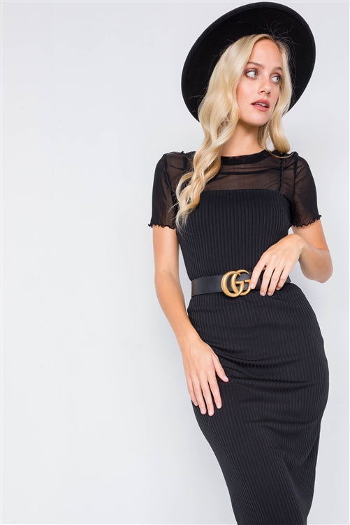 Bad Romance Ribbed Bodycon Midi Dress (Black)