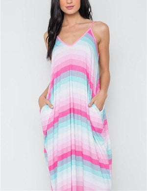 Candy Shop Striped Pocketed Pink & Blue Maxi Dress