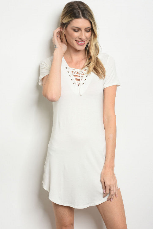 Compliments Lace up White Tee Shirt Dress