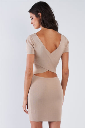 Elite Babe Wrap Back Ribbed Bodycon Mini Dress