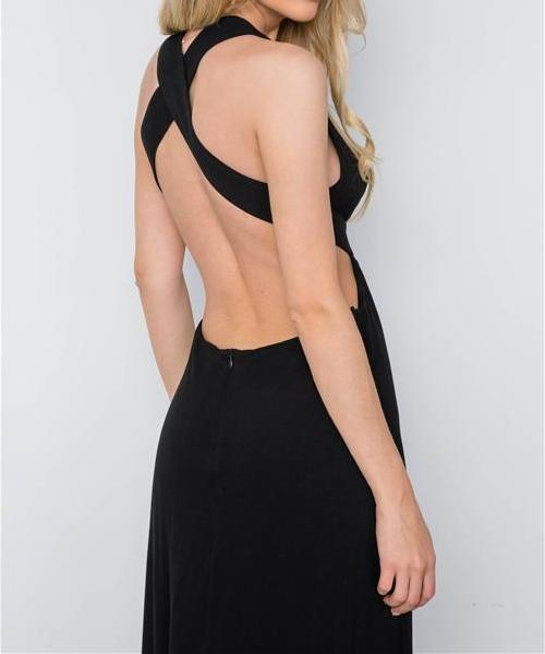 Festival Plunge Open Back Black Maxi Dress