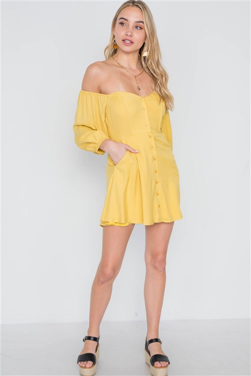 Sweet Escape Strapless Mini Dress (Mustard Yellow)