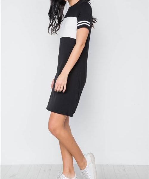 VALERIE SUPER SOFT SPORTY COLOR BLOCK DRESS in BLACK