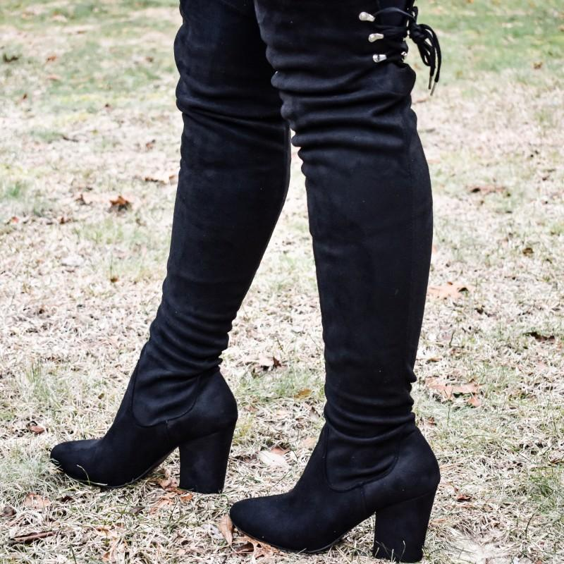 Vegan Suede OTK Boot