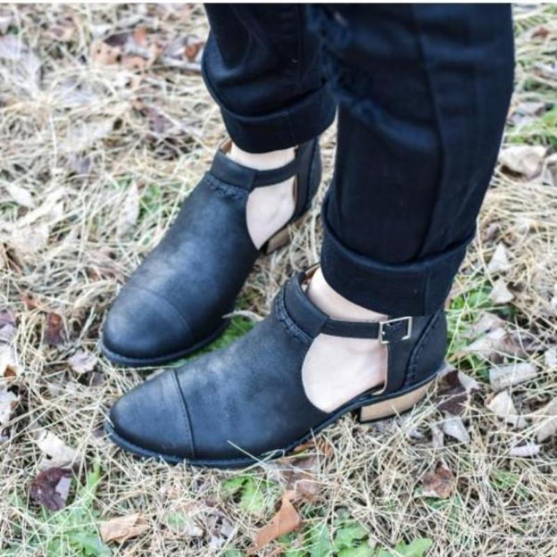 Buckle Cutout Ankle Bootie