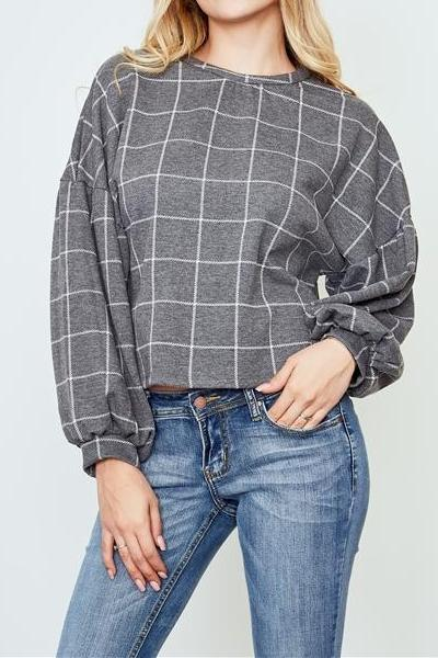 OFFICE GOSSIP GRAY PLAID SWEATER TOP
