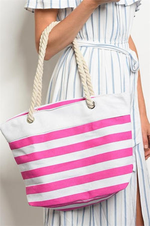 Beach Bum Rope & Canvas Striped Tote (Red)