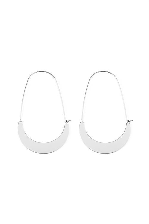Quarter Moon Hoop Earrings (Silver)