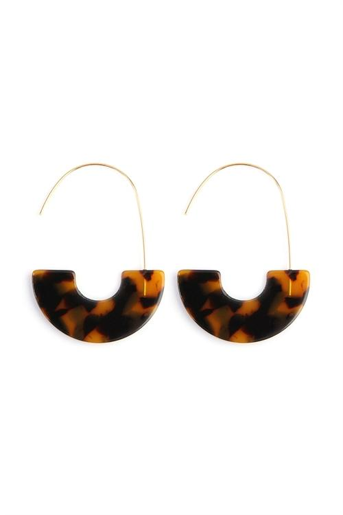 TORTOISE SHELL CRESCENT MOON EARRINGS