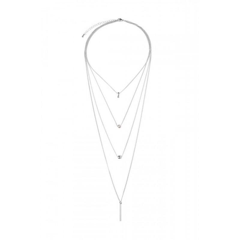 Four Layer Lariat Necklace (Silver)