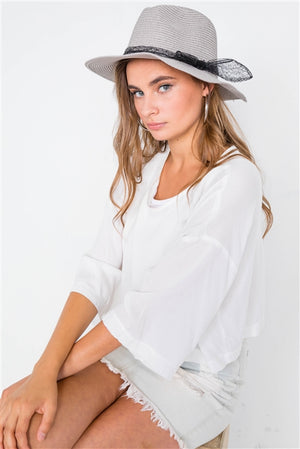 Panama Chic Fedora Straw Hat (Gray)