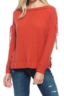 Rust Ribbed Lace Up Boatneck Sweater