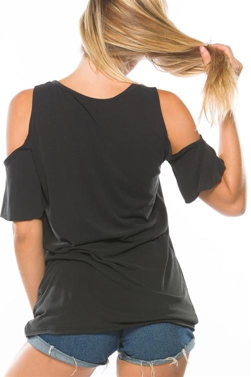Cold Shoulder Distressed Black Tee