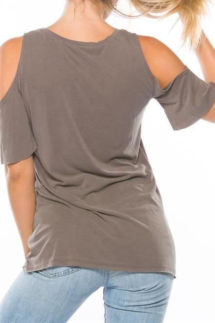 Cold Shoulder Distressed Light Brown Tee