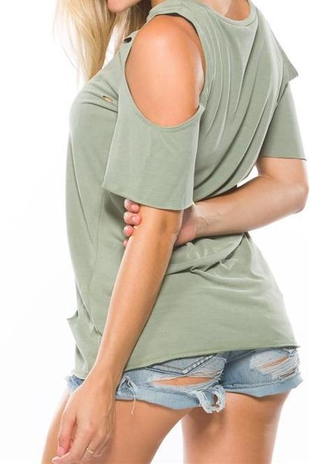 Cold Shoulder Distressed Green Tee