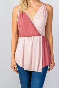 Color Block Wrap Top