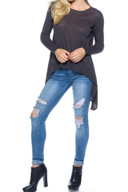 ASYMMETRIC HEM SWEATER (CHARCOAL)
