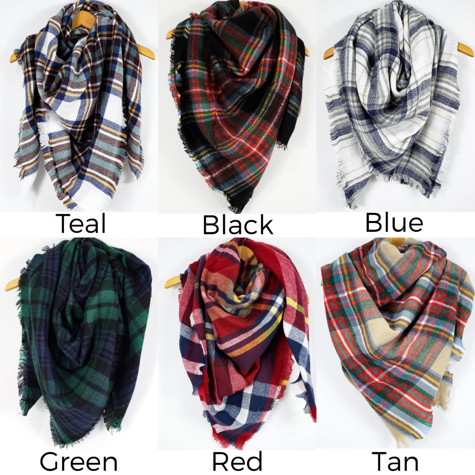 Cozy at Heart Plaid Blanket Scarf (Black)