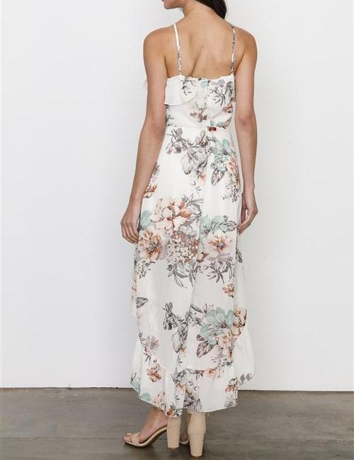 GARDENIA FLORAL HIGH LOW MAXI DRESS