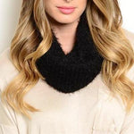Black Luxury Faux Angora Soft Infinity Scarf