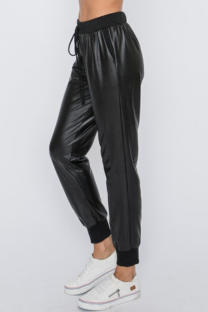 Luxe in Leather Black Joggers