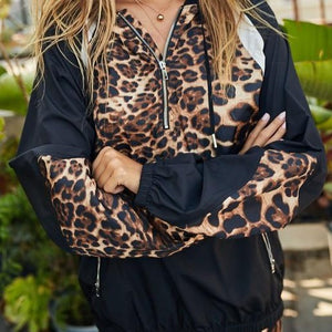 Cool Cat Leopard Colorblock Windbreaker (Black)