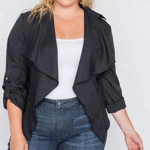 Cyprus Draped Open Front Plus Size Jacket (Black)