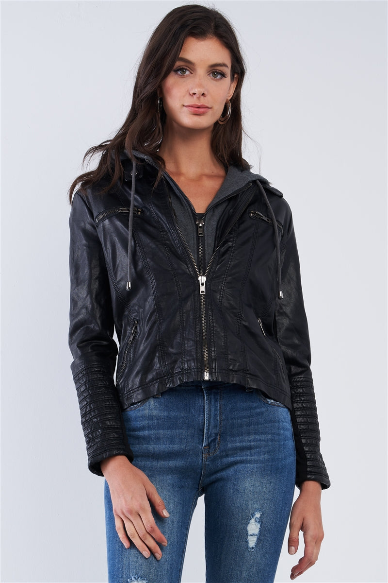 Rock & Roll Hoodie Vegan Leather Jacket (Black)