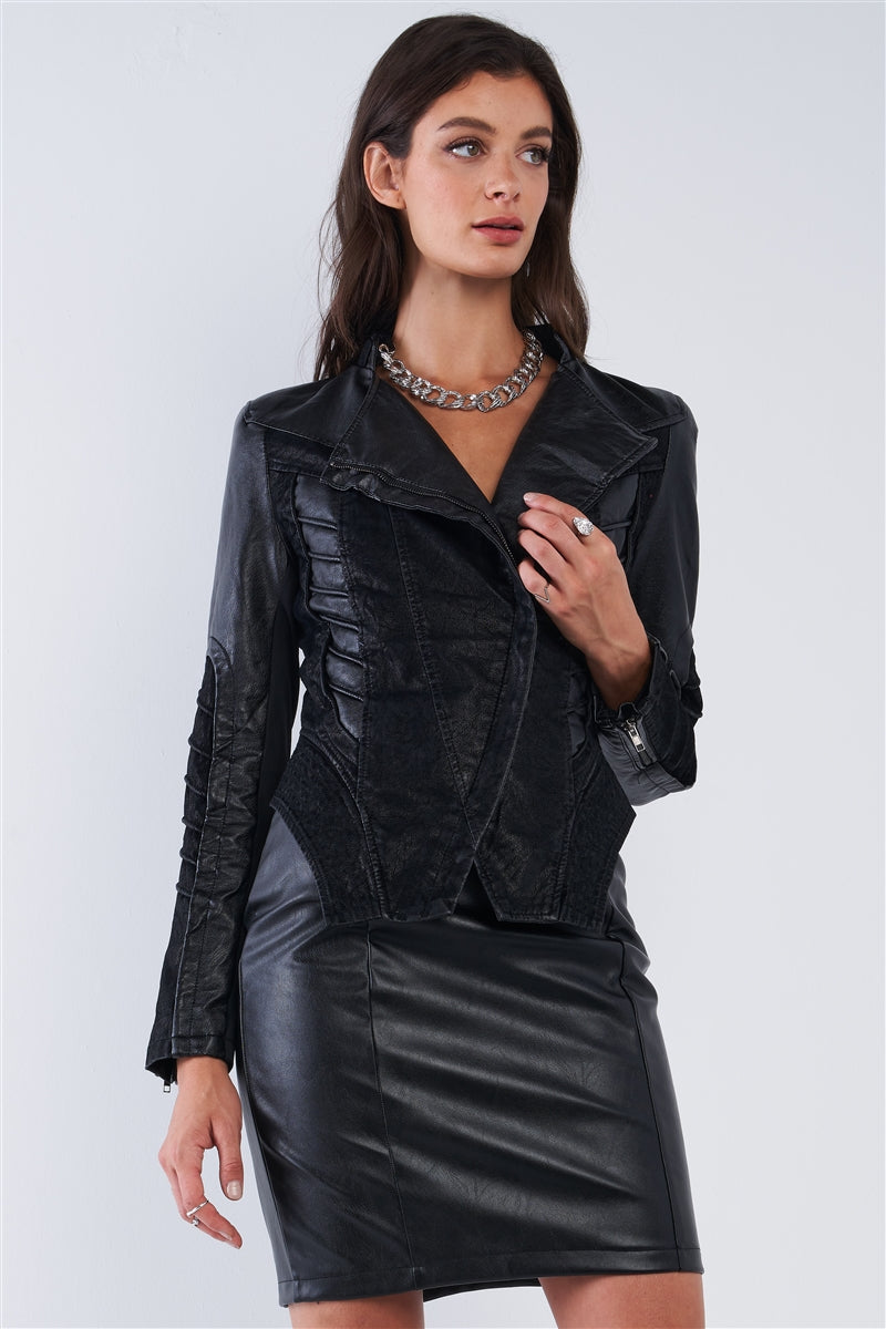 Tempting Fate Corset Paneled Leather Jacket (Black)