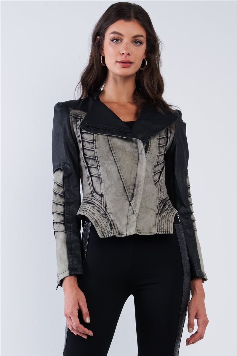 Tempting Fate Corset Paneled Leather Jacket (Gray)