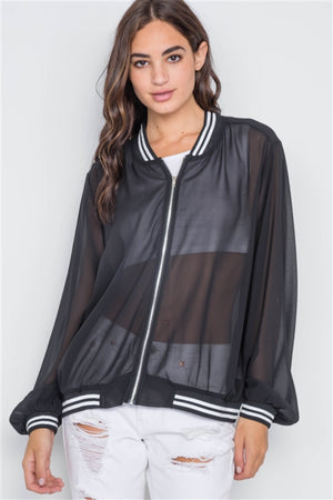 Tyler Black Sheer Contrast Trim Jacket