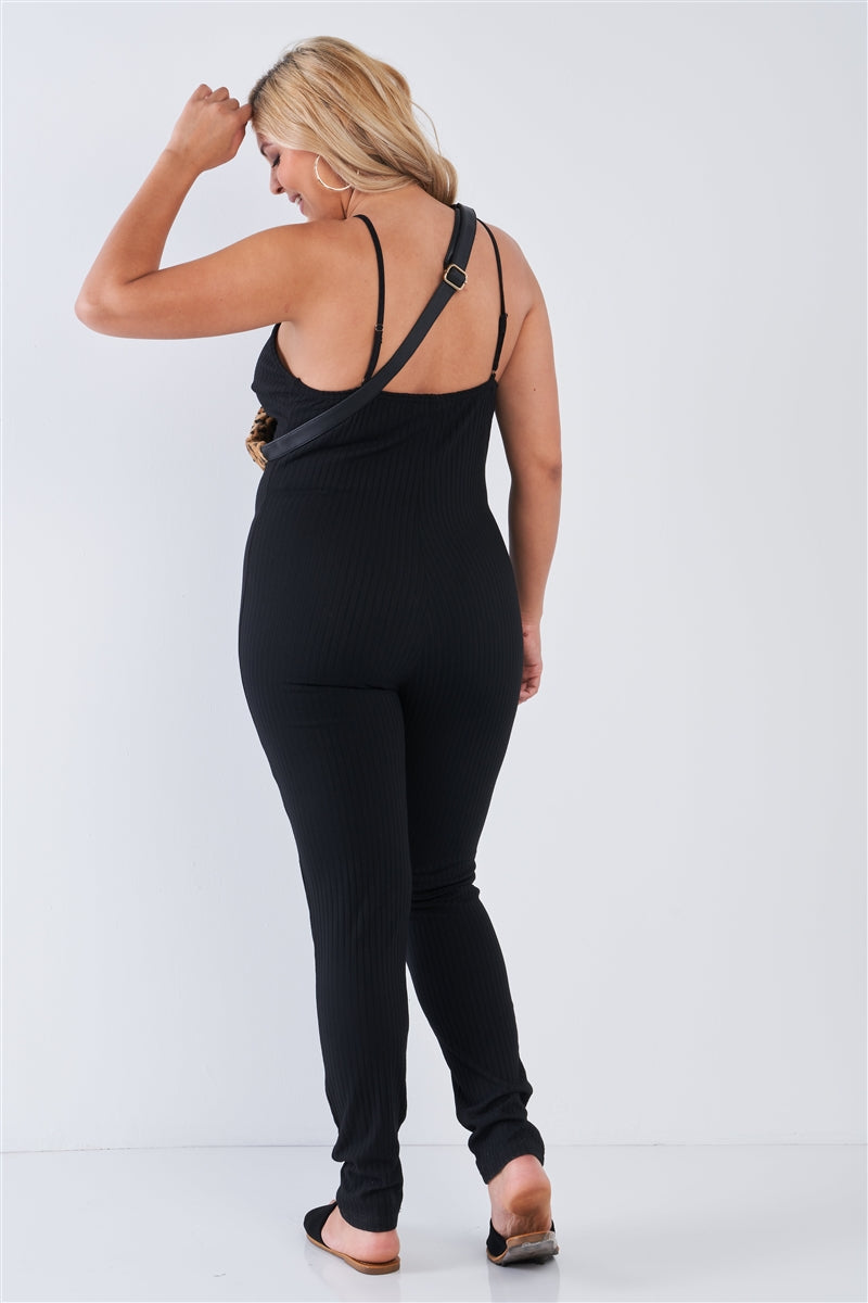 Lounging Around Ribbed Black Cami Jumpsuit (Plus)