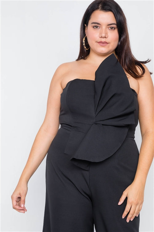 Main Event Black Strapless Jumpsuit (Plus)