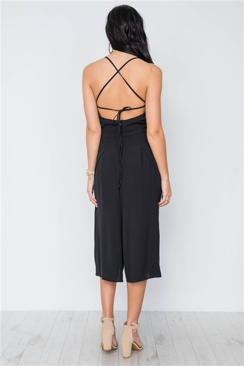 Piper Pocket Palazzo Cropped Black Jumpsuit