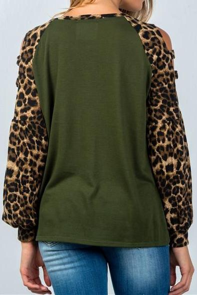 Cut Out Leopard Sleeve Top (Olive)