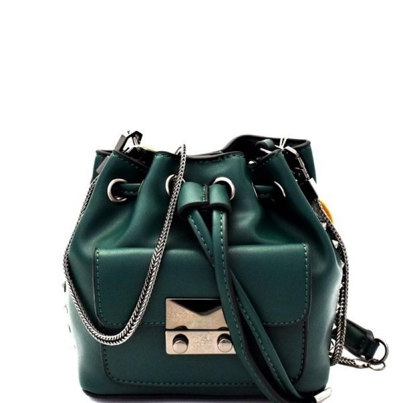 MINI BUCKET VEGAN LEATHER SHOULDER BAG (EMERALD)