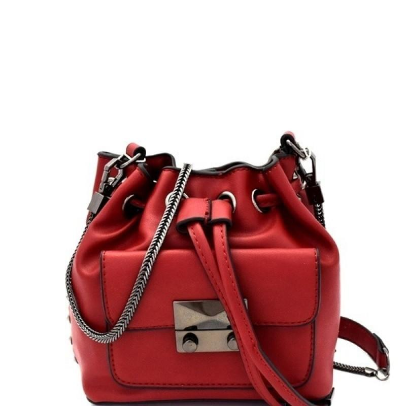 MINI BUCKET VEGAN LEATHER SHOULDER BAG (RED)
