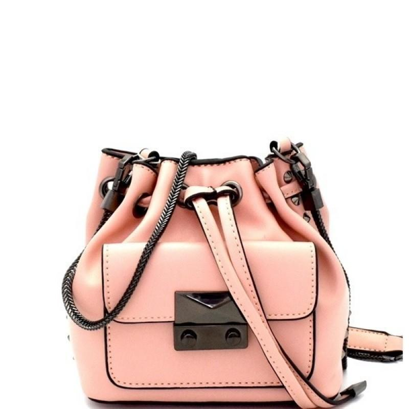 MINI BUCKET VEGAN LEATHER SHOULDER BAG (BLUSH PINK)