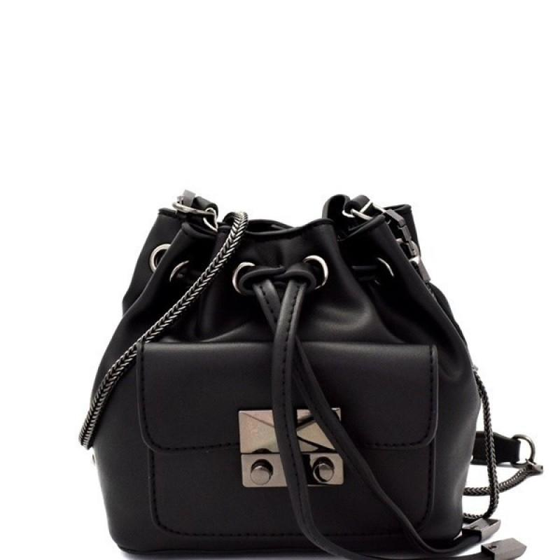 MINI BUCKET VEGAN LEATHER SHOULDER BAG (BLACK)